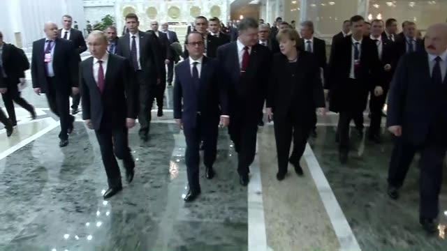 president of belarus alexander lukashenko, french president francois hollande, russian president vladimir putin, german chancellor angela merkel and... - 2015 stock videos & royalty-free footage