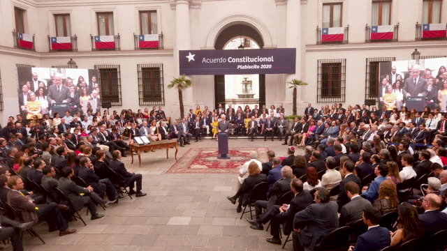president of chile sebastian piñera during a ceremony to enact the law to call for a referendum on april 2020 for a reform of the national... - constitution stock videos & royalty-free footage