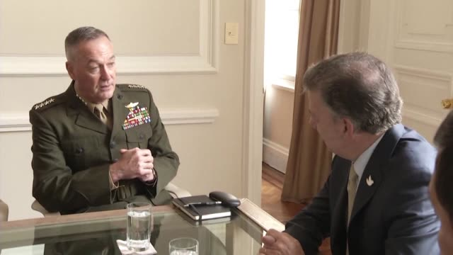 president of colombia juan manuel santos receives on thursday general joseph f dunford jr the chairman of the joint chiefs of staff in the united... - joint chiefs of staff stock videos and b-roll footage
