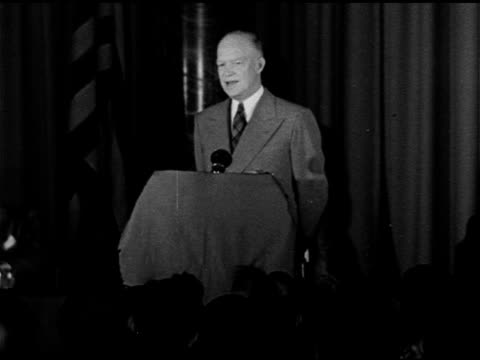 speech president of columbia university general dwight d eisenhower talking about us bill of rights people twisting property rights and human rights... - menschenrechte stock-videos und b-roll-filmmaterial