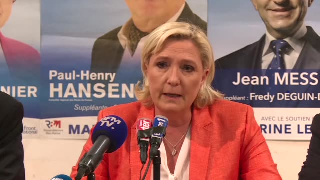 President of French farright National Front party Marine Le Pen who is running for a seat in parliament in the PasdeCalais region called on voters...