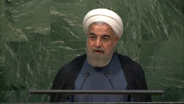 president of iran hassan rouhani speaks during the opening of the 70th session of the united nations general assembly at the u.n. headquarters in new... - united nations stock videos & royalty-free footage