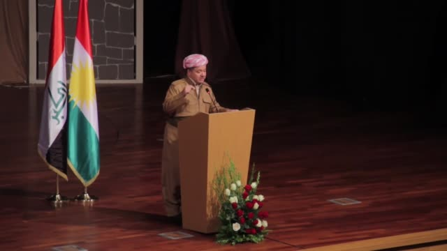 President of Iraqi Kurdish Regional Government Masoud Barzani delivers a speech during an event held for 2nd anniversary of Daesh massacre on Sinjar...