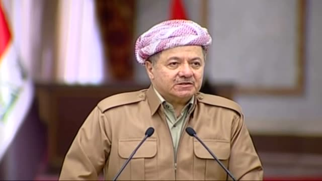 president of iraqi kurdish regional government masoud barzani and prime minister of iraq haider alabadi speak during a press conference after their... - iraqi prime minister stock videos & royalty-free footage