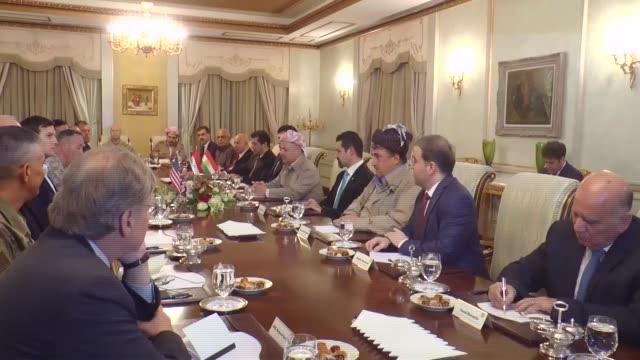 president of iraqi kurdish regional government masoud barzani meets with chairman of the us joint staff general joseph francis dunford, us president... - 2017 stock-videos und b-roll-filmmaterial