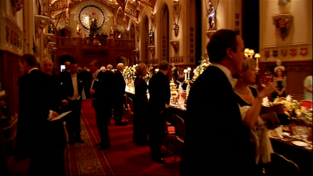 president of ireland visit: state banquet; banqueting hall seen from above / peter robinson mla attending banquet / dame judi dench arriving / clegg... - state dinner stock videos & royalty-free footage