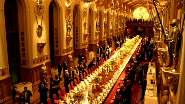 state banquet queen elizabeth ii and michael dhiggins along to attend state banquet followed by wife sabina coyne prince philip duke of edinburgh... - state visit stock videos & royalty-free footage