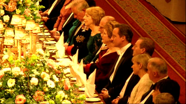 president of ireland visit: state banquet; queen elizabeth ii speech sot - on history of british - irish relations - jokes about danny boyle getting... - state dinner stock videos & royalty-free footage