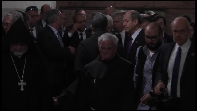 president of italy sergio mattarella visits the nativity church in the west bank city of bethlehem on november 01 2016 sergio mattarella will later... - church of the nativity stock videos and b-roll footage