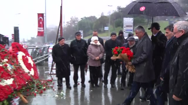 president of kosovo hashim tachi place a flower bouquet on the martyrs hill where the istanbul terror attack took place in the besiktas district of... - besiktas stock videos and b-roll footage