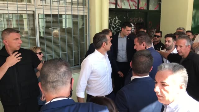 president of new democracy party kuriakos mitsotakis casts his vote at a polling station during general elections in athens greece on july 07 2019 - allgemeine wahlen stock-videos und b-roll-filmmaterial