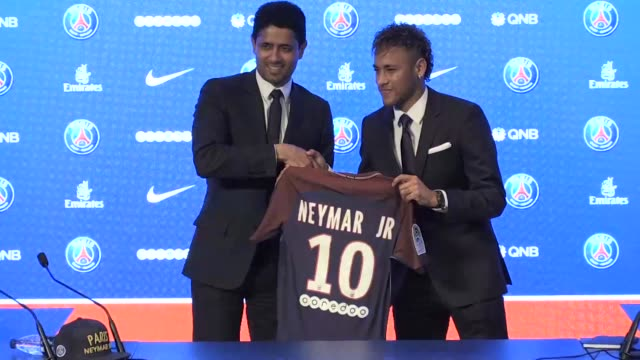 president of paris saint germain nasser al khelaïfi estimates that neymar who was transferred for 222 million euros making him the most expensive... - neymar da silva stock-videos und b-roll-filmmaterial