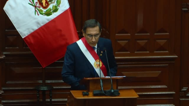 president of peru martin vizcarra proposes before congress moving up elections to july 2020 which would cut short his mandate and those of the... - martín vizcarra stock videos & royalty-free footage