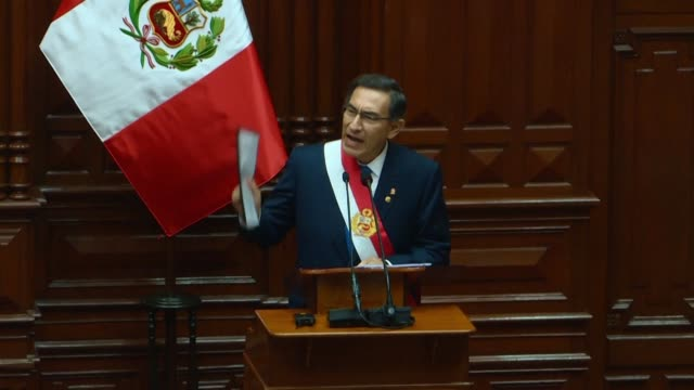 president of peru martin vizcarra proposes in his message to the nation before congress to move forward elections to july of 2020 which would cut a... - martín vizcarra stock videos & royalty-free footage