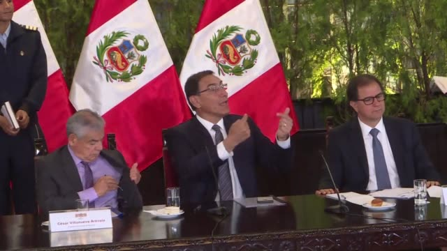 president of peru martin vizcarra says that a new economy minister will be announced by wednesday after the unexpected resignation of david tuesta... - martín vizcarra stock videos & royalty-free footage