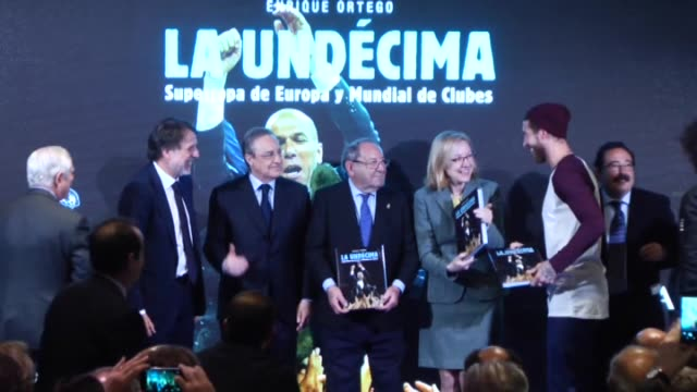 President of Real Madrid Florentino Perez honorary president of Real Madrid Paco Gento author Enrique Ortego and Real Madrid's players Lucas Vazquez...