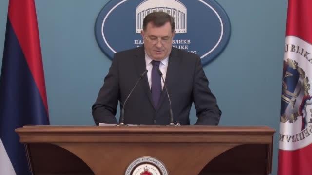 president of republika srpska, milorad dodik delivers a speech during a press conference in banja luka, bosnia and herzegovina on january 18, 2017.... - banja luka stock videos & royalty-free footage