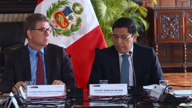 president of the council of ministers vicente zeballos announces that peruvian president martin vizcarra has issued an emergency decree to hold... - martín vizcarra stock videos & royalty-free footage