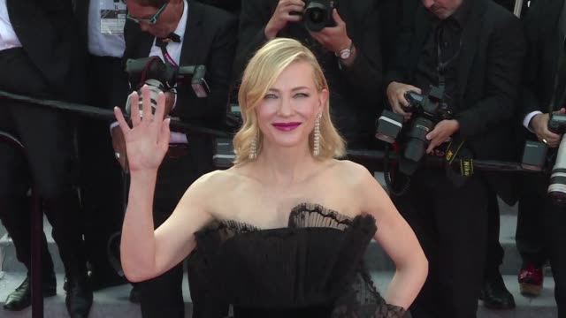 president of the jury cate blanchett and british actor gary oldman walk the red carpet at the cannes premiere of capharnaum in the running for the... - 71st international cannes film festival stock videos & royalty-free footage