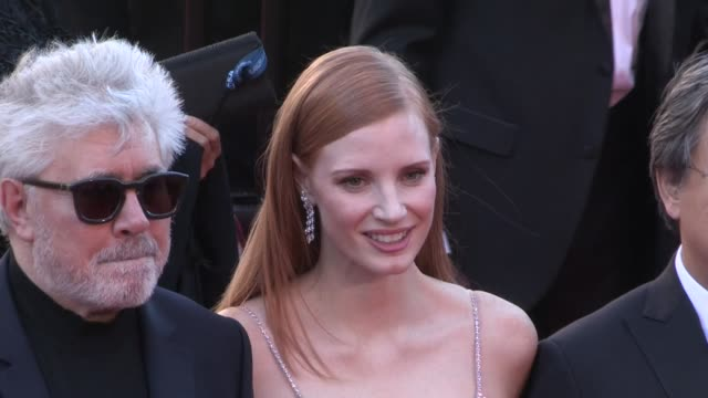 President of the jury Pedro Almodovar jurors Jessica Chastain and Park Chanwook on the red carpet for the Premiere of Okja at the Cannes Film...