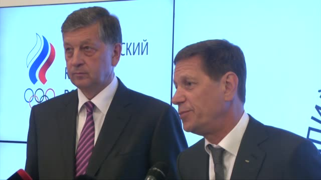 vídeos de stock, filmes e b-roll de president of the russian olympic committee alexander zhukov holds a press conference following an roc executive committee meeting in moscow russia 20... - rio russian