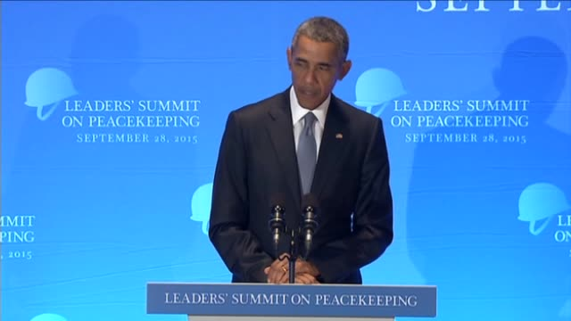 president of the united states barack obama speaks during the leaders' summit on peacekeeping within the 70th session of the united nations general... - 平和維持点の映像素材/bロール