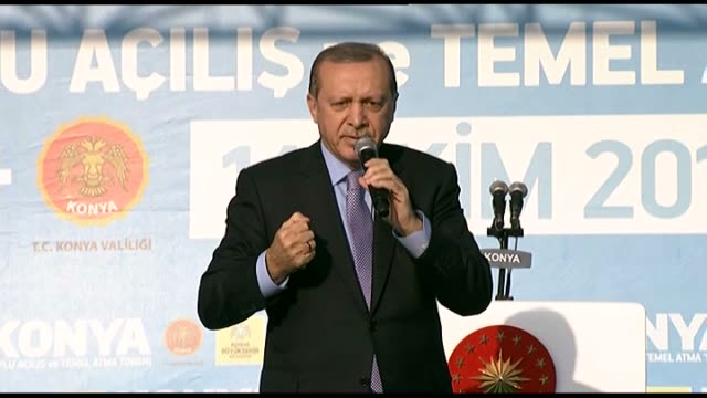 president of turkey recep tayyip erdogan addresses a crowd at kilicarslan square in turkey's central anatolian province of konya on october 14 2016... - konya stock videos and b-roll footage
