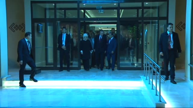 """president of turkey recep tayyip erdogan and his wife emine erdogan gesture as they prepare to depart antalya with the private plane """"ana"""" following... - afghanische nationaltruppe stock-videos und b-roll-filmmaterial"""