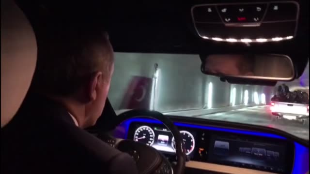 president of turkey recep tayyip erdogan drives the first car through the istanbul's new eurasia tunnel under the marmara sea on october 8 2016 in... - marmara stock videos and b-roll footage