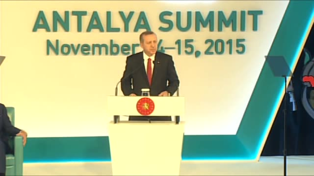 president of turkey recep tayyip erdogan gives a speech as president of the confederation of turkish trade unions ergun atalay and b20 chair and... - g20 leaders' summit stock videos & royalty-free footage