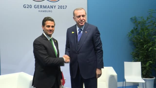 president of turkey recep tayyip erdogan meets with enrique pena nieto president of mexico during the g20 leaders' summit in hamburg germany on july... - g20 leaders' summit stock videos & royalty-free footage