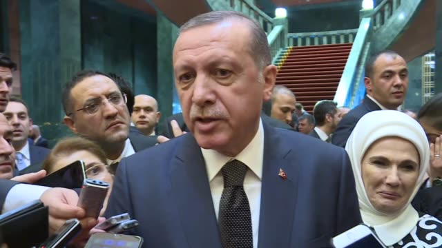 president of turkey recep tayyip erdogan speaks to journalists at a reception marking saturday's republic day the 93rd anniversary of the founding of... - todesstrafe stock-videos und b-roll-filmmaterial