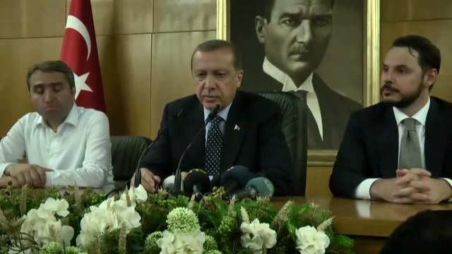 president of turkey, recep tayyip erdogan speaks to media in istanbul, turkey on july 16, 2016. a group within the turkish military has taken illegal... - 2016 stock videos & royalty-free footage