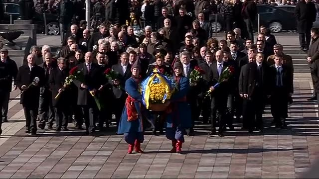 president of ukraine petro poroshenko and cabinet members attend the commemoration ceremony which organized for 201th birthday of poet taras... - poet stock videos & royalty-free footage