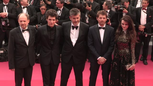 president pierre lescure adele wismes pierre deladonchamps christophe honore vincent lacoste denis podalydes on the red carpet for the premiere of... - 71st international cannes film festival stock videos & royalty-free footage