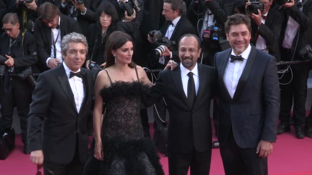 president pierre lescure producer alexandre malletguy eduard fernandez javier bardem director asghar farhadi and actress penelope cruz ricardo darin... - javier bardem stock videos and b-roll footage