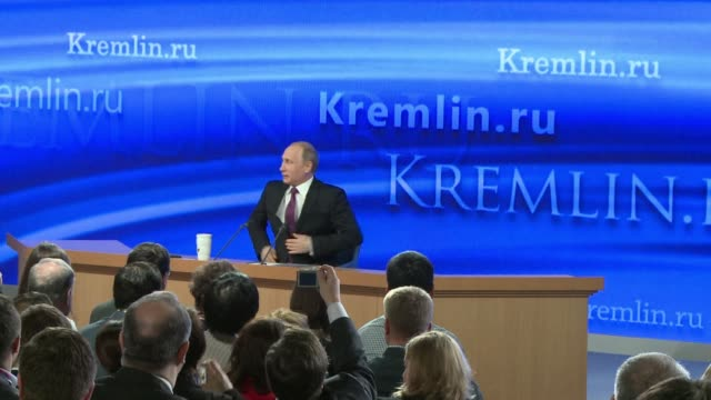 president putin gives televised press conference expected to touch on issues ranging from moscows standoff with the west over ukraine to the... - financial item stock videos & royalty-free footage