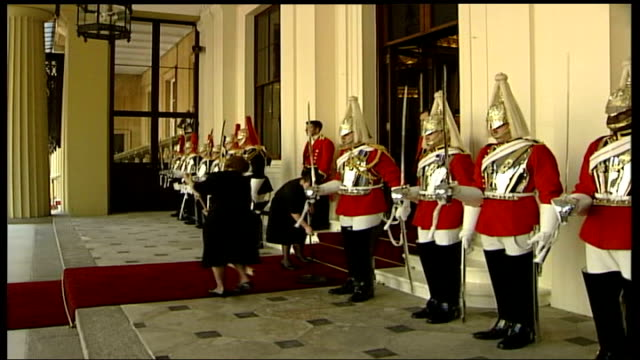 buckingham palace arrival and speech england london buckingham palace ext doorman standing member of palace staff brushing red carpet lifeguards take... - brushing stock videos & royalty-free footage