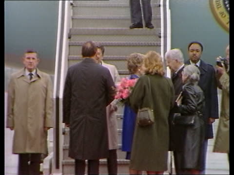 President Reagan and wife Nancy arrive in Bonn for the Economic Summit with security strengthened following the discovery of a bomb GERMANY Bonn MS...