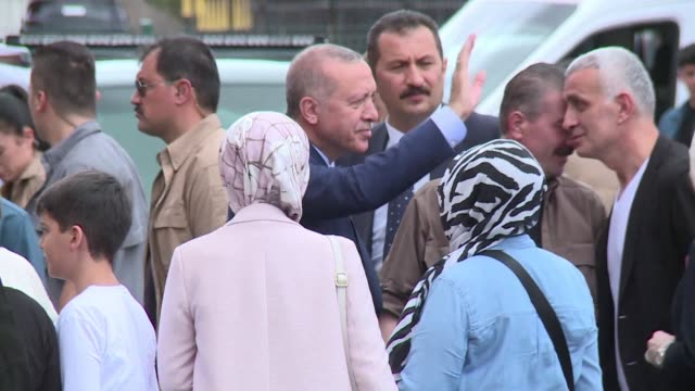 president recep tayyip erdogan arrives and leaves the polling station in istanbul in snap twin presidential and parliamentary elections he called one... - president stock videos & royalty-free footage