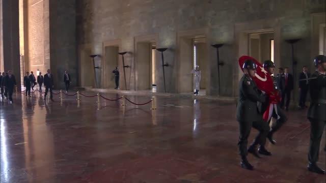 president recep tayyip erdogan on monday paid his respects to turkey's founder mustafa kemal ataturk in capital ankara following his swearingin... - mausoleum stock videos and b-roll footage