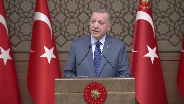 president recep tayyip erdogan on thursday urged the world to understand that ypg/pkk terror group is as dangerous as daesh for democracy rule of law... - human joint stock videos & royalty-free footage