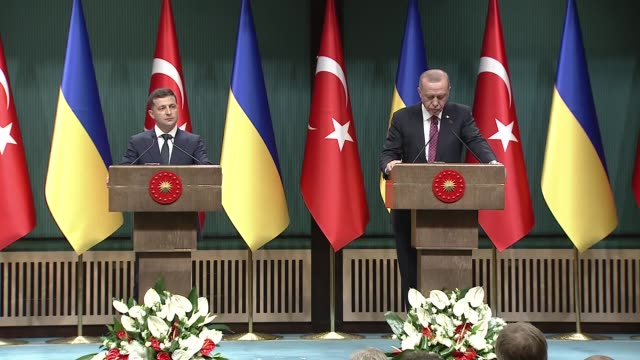 president recep tayyip erdogan said wednesday that turkey will not accept illegal annexation of crimea after meeting his ukrainian counterpart in... - eastern european culture stock videos & royalty-free footage