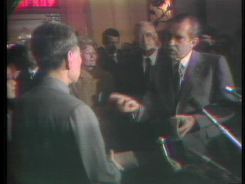 president richard m. nixon and chou en-lai engage in light-hearted conversation about the role of women in science and home during in nixon's... - 1972 stock videos & royalty-free footage