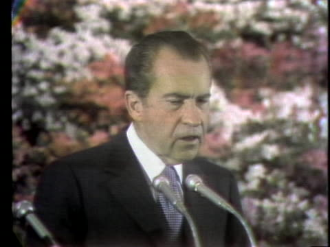 president richard m. nixon speaks at a farewell banquet in peking's industrial hall, commenting on the importance of his week in china. - (war or terrorism or election or government or illness or news event or speech or politics or politician or conflict or military or extreme weather or business or economy) and not usa stock videos & royalty-free footage