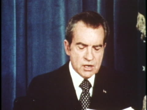 president richard m. nixon talks about the paris peace accords, as members of the committee sign the treaty on january 1973. - vietnam war stock videos & royalty-free footage