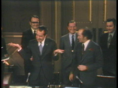 president richard nixon and canadian prime minister pierre trudeau sign an agreement at the ottawa parliament to jointly clean up the great lakes. - (war or terrorism or election or government or illness or news event or speech or politics or politician or conflict or military or extreme weather or business or economy) and not usa stock videos & royalty-free footage
