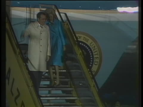 president richard nixon and first lady pat nixon arrive in salzburg austria - (war or terrorism or election or government or illness or news event or speech or politics or politician or conflict or military or extreme weather or business or economy) and not usa stock videos & royalty-free footage