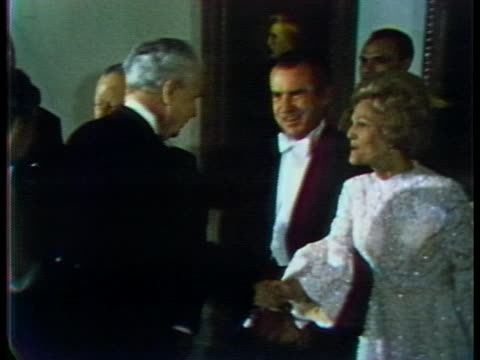 president richard nixon and first lady pat nixon attend a white-tie reception hosted by canada's governor general in ottawa during the nixons' state... - (war or terrorism or election or government or illness or news event or speech or politics or politician or conflict or military or extreme weather or business or economy) and not usa stock videos & royalty-free footage