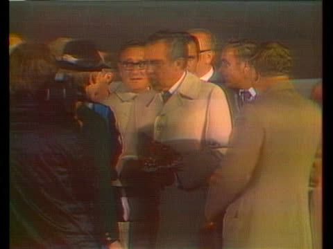 president richard nixon and first lady pat nixon shake hands with dignitaries in salzburg, austria. - (war or terrorism or election or government or illness or news event or speech or politics or politician or conflict or military or extreme weather or business or economy) and not usa stock videos & royalty-free footage